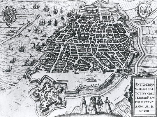 Map of Antwerp, 1598