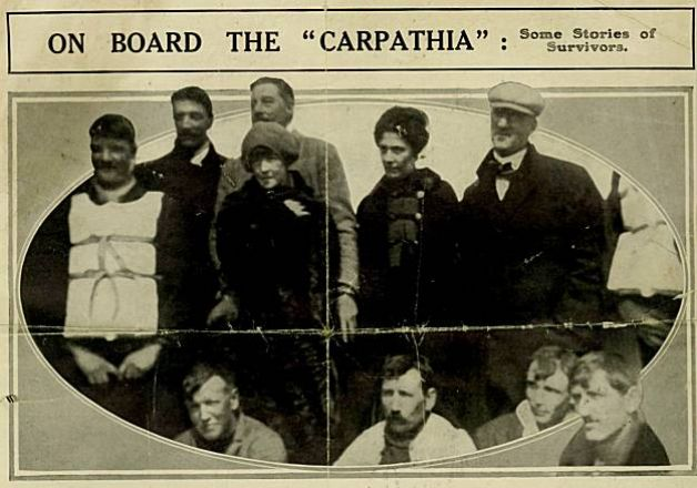 Survivors of the Titanic tragedy, onboard the Carpathia. Lucy, Lady Duff-Gordon is seen center left, standing just below her husband.