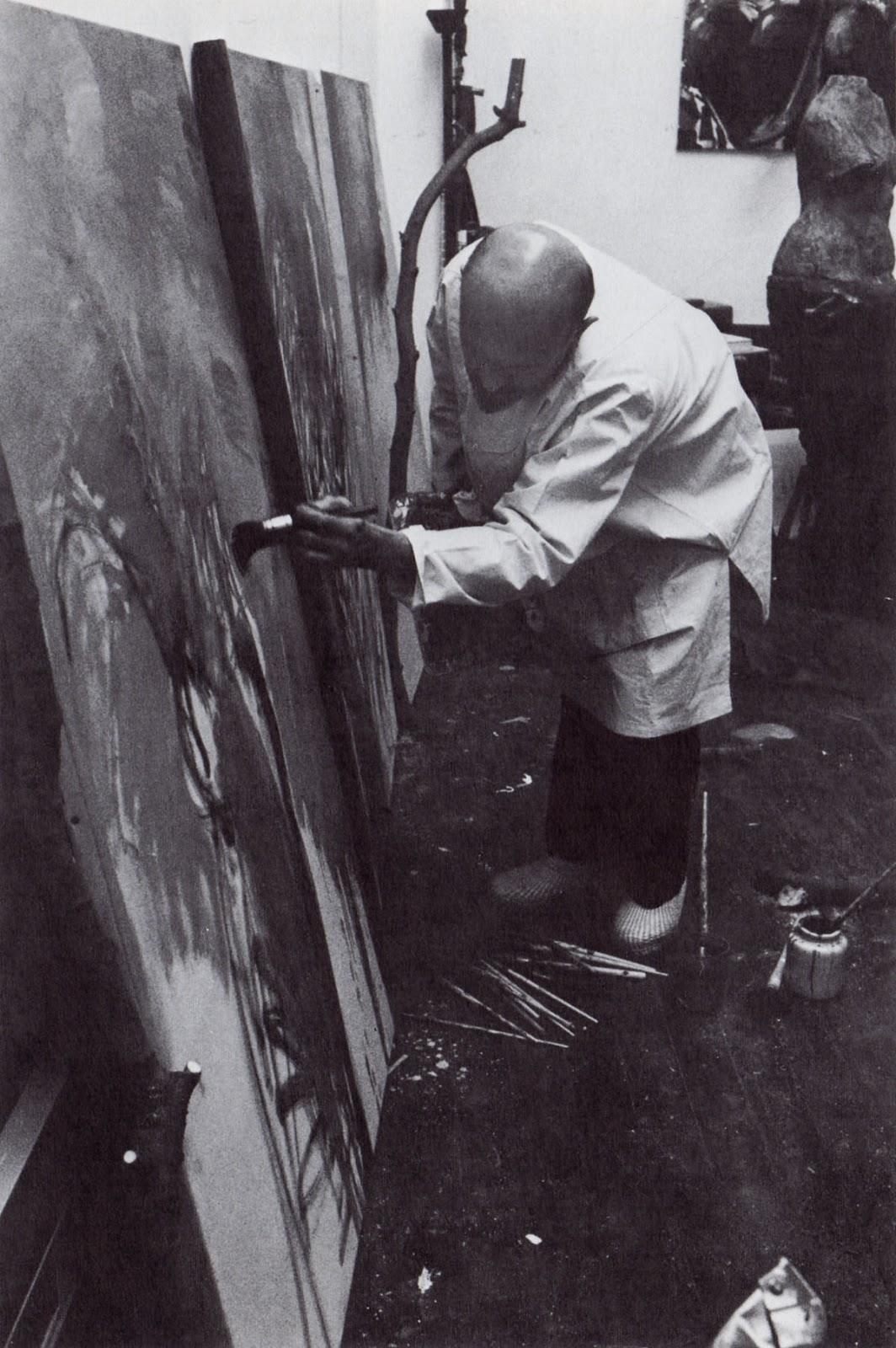 Jim Dine painting in his studio, 1983
