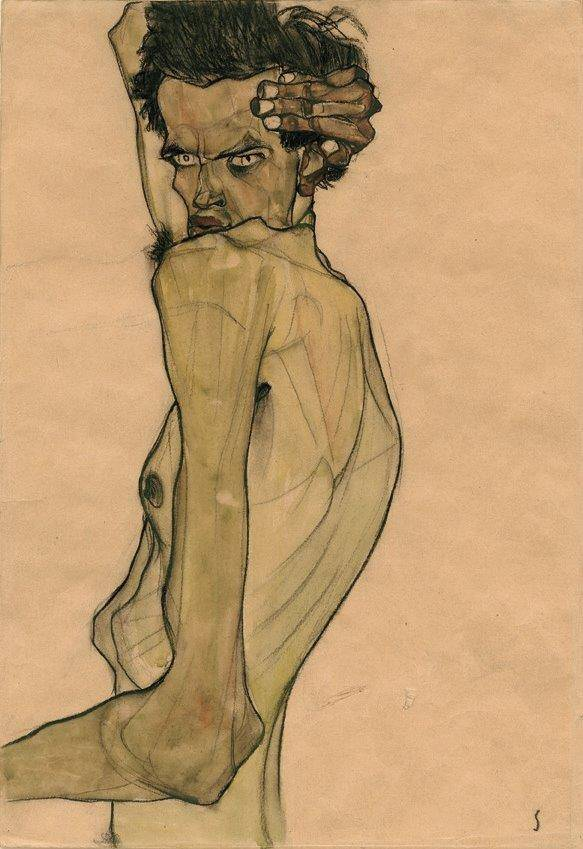 "Egon Schiele, ""Self-Portrait with Arm Twisted above Head"" (1910)."