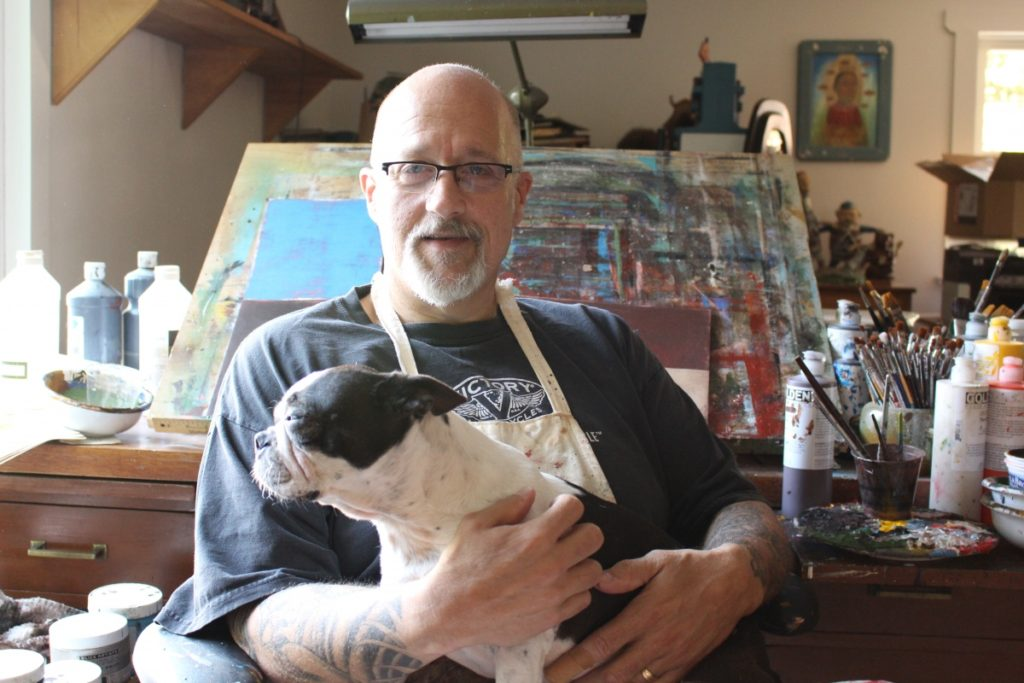 Fred Stonehouse in his studio