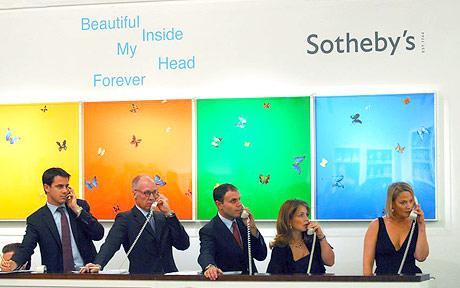 "Auction at Sotheby's of Damien Hirst's ""Beautiful Inside My Head Forever,"""