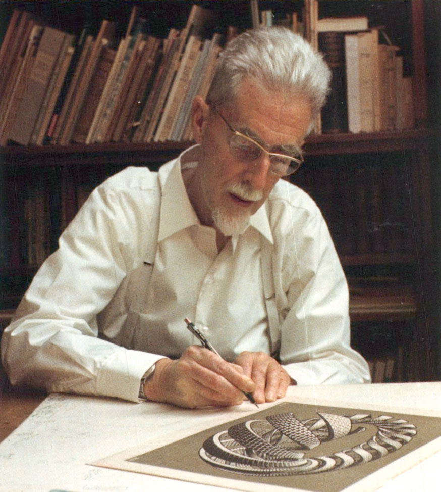 "M.C. Escher creating one of his final works, ""Spirals,"" in 1970"