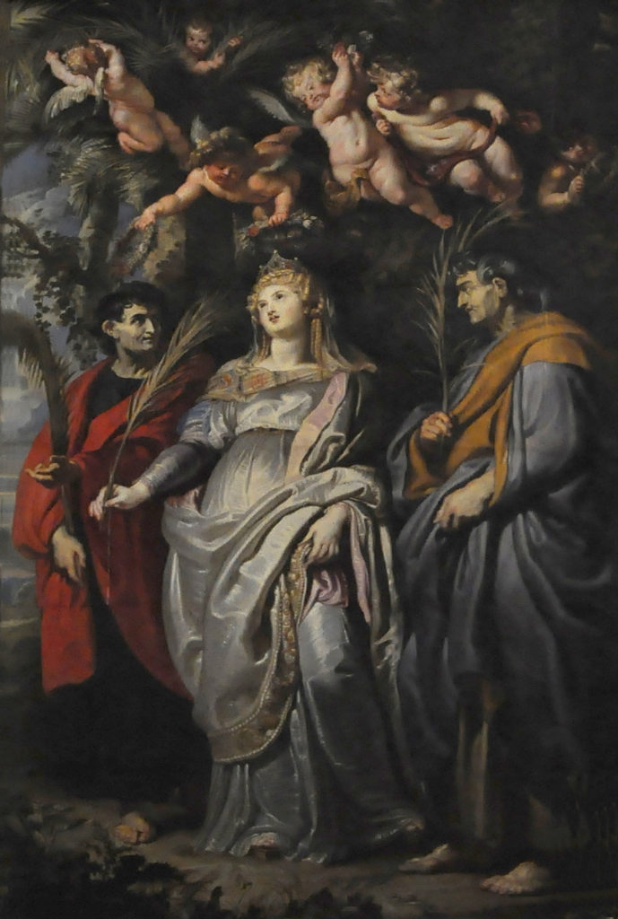 """Saint Domitilla, flanked by Saints Nereus and Achilleus of Rome,"" 1608"