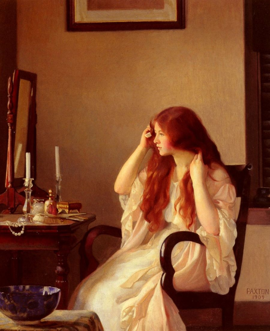 """""""Girl Combing Her Hair,"""" 1909"""