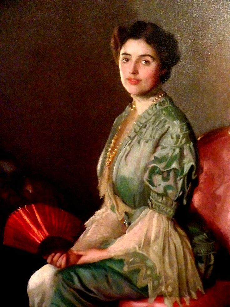 "Paxton's wife Elizabeth poses for ""Lady With Red Fan,"""