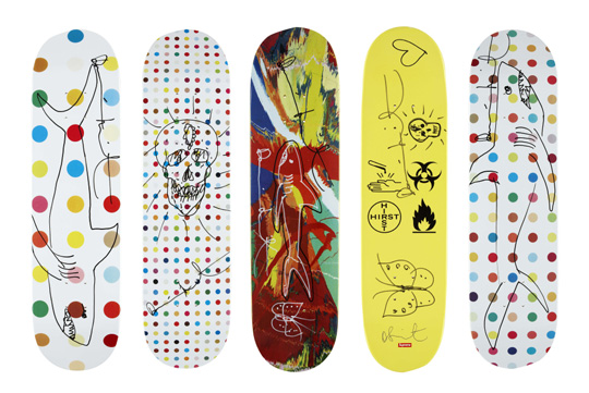 Hirst designed skateboard decks for Supreme Skateboards.