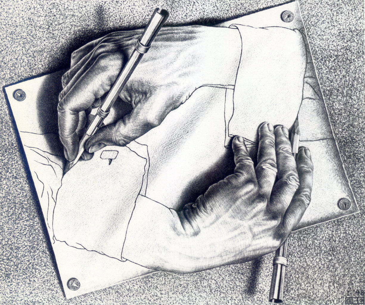 """Drawing Hands,"" by M.C. Escher, 1947"