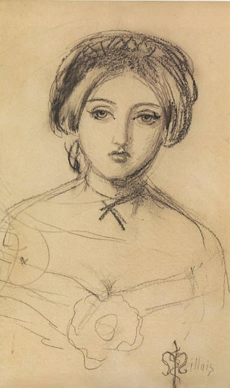 Sketch of Effie Gray, by John Everett Millais, while on holiday in Scotland with Effie and her husband John Ruskin