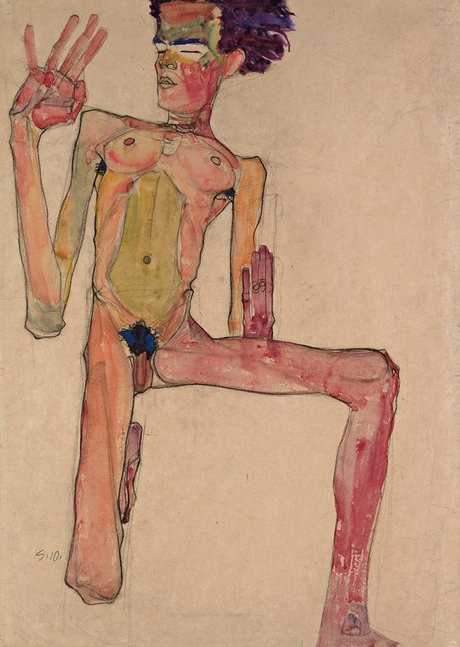 """Kneeling Nude With Raised Hands,"" by Egon Schiele"