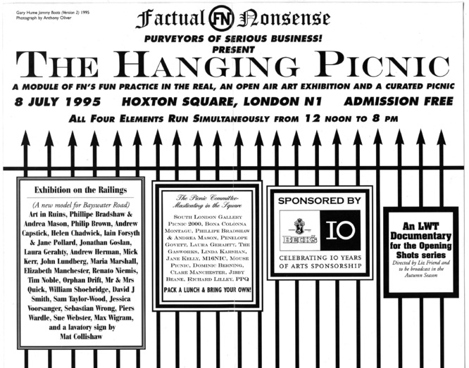"Back of the invitation to the ""Hanging Picnic,"" organized and curated by Joshua Compston"