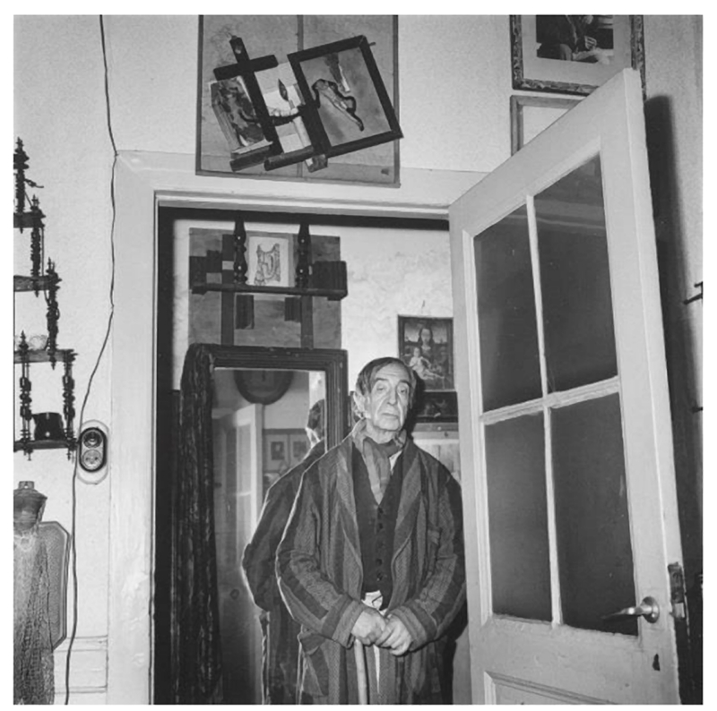 Paul Joostens in his studio/home in 1960, only a month before his lonely death