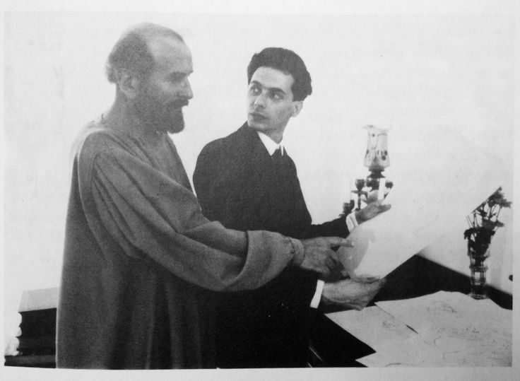 Gustav Klimt (L) and his protégé Egon Schiele