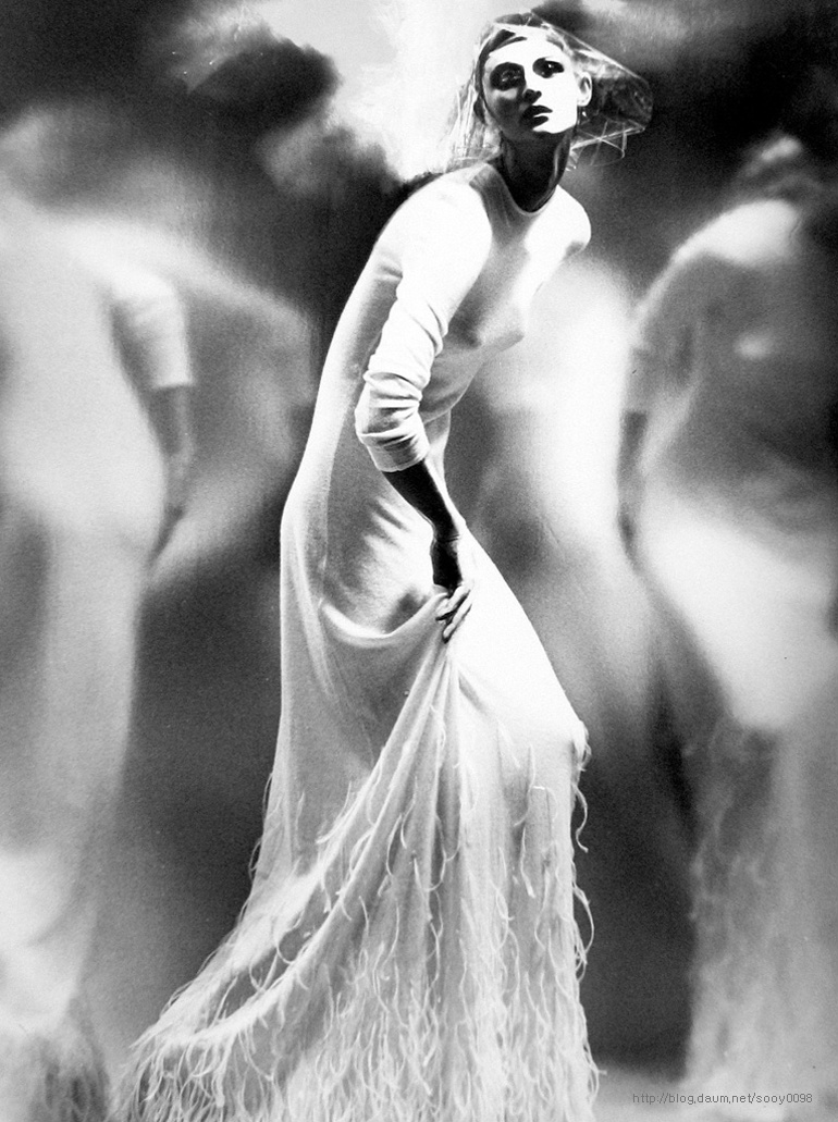 """Birdlady,"" photo by Lillian Bassman, 2000, with model Anneliese Seubert for German Vogue."