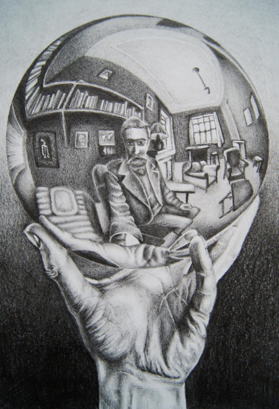 "Probably Escher's most famous work, ""Hand With Reflecting Sphere,"""
