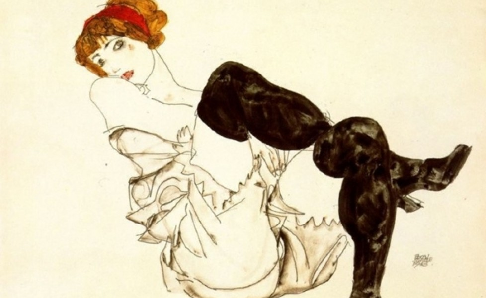 """Wally In Black Stockings,"" by Egon Schiele"