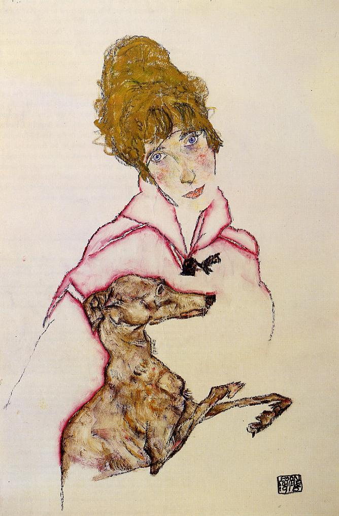 """Woman With Greyhound,"" by Egon Schiele, 1916"
