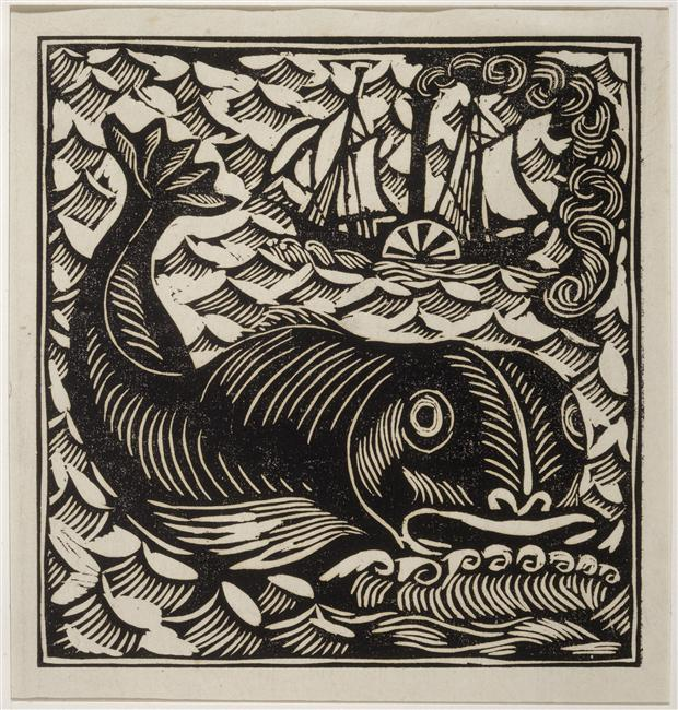 """Dolphin,"" woodcut by Raoul Dufy for a publication by Apollinaire"