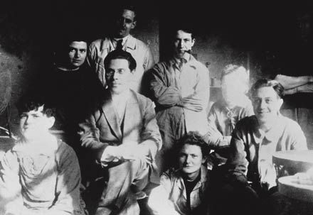 Moholy-Nagy - center- and students of his metal design class at the Bauhaus (Marianne Brandt, upper left of Moholy-Nagy, in black)