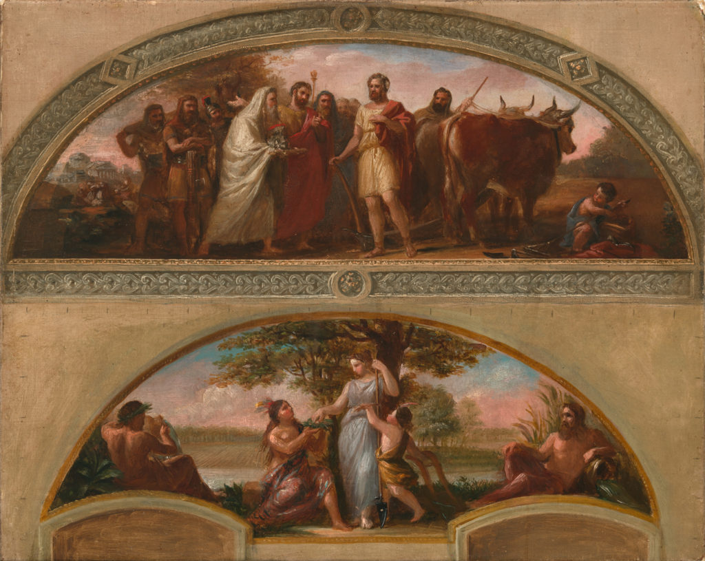 Brumidi's first work in the Capitol Building, in the