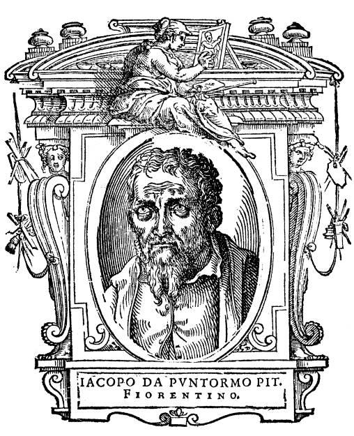 Vasari's second edition included portraits of each artist, like this one of Jacopo Pontormo