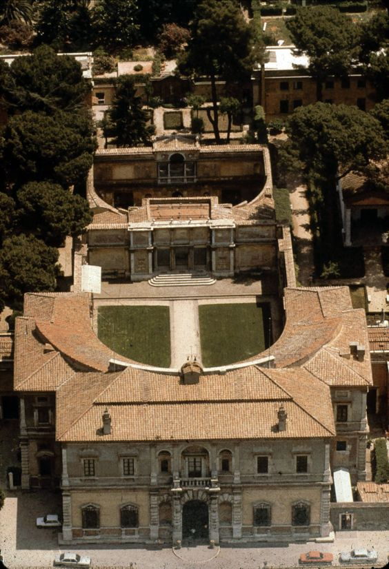 Aerial view of the Villa Giulia, Rome, Italy