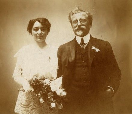Maria and Alphonse Mucha on their wedding day, 1906