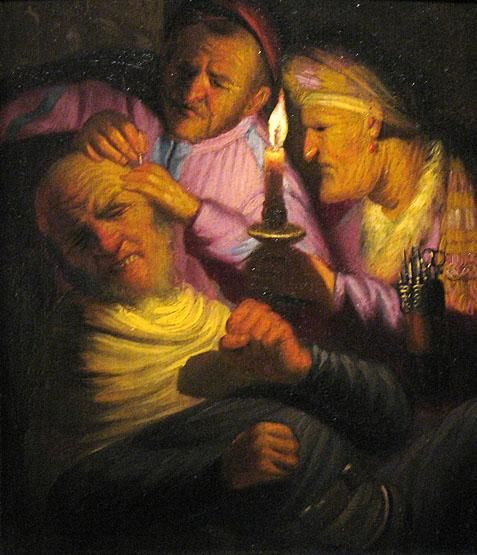 """Touch/Feeling; One Of The Five Senses,"" 1623 - one of the earliest known paintings by Rembrandt"