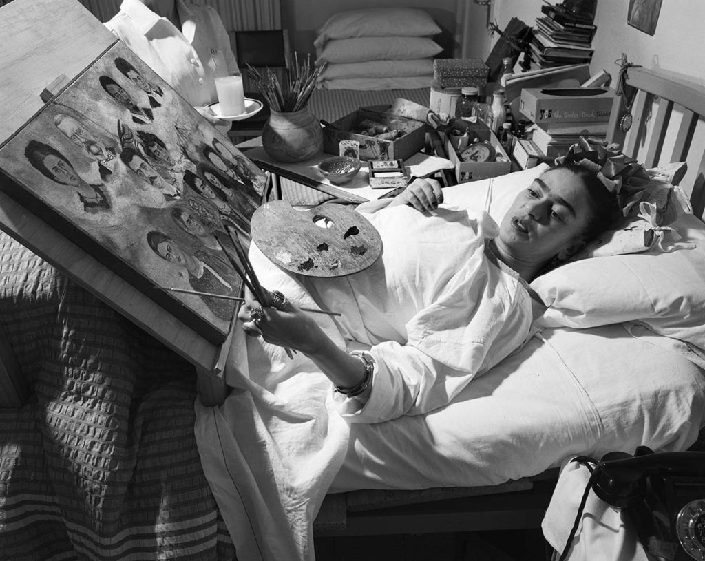 Frida, painting in her hospital bed