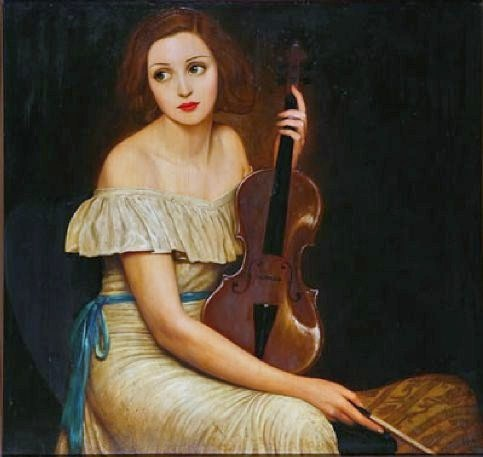 """Seated Woman With Violin"""