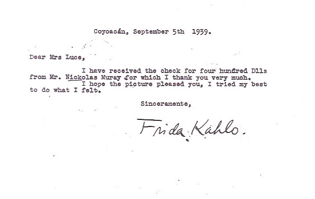 Frida's letter to Clare Luce Booth