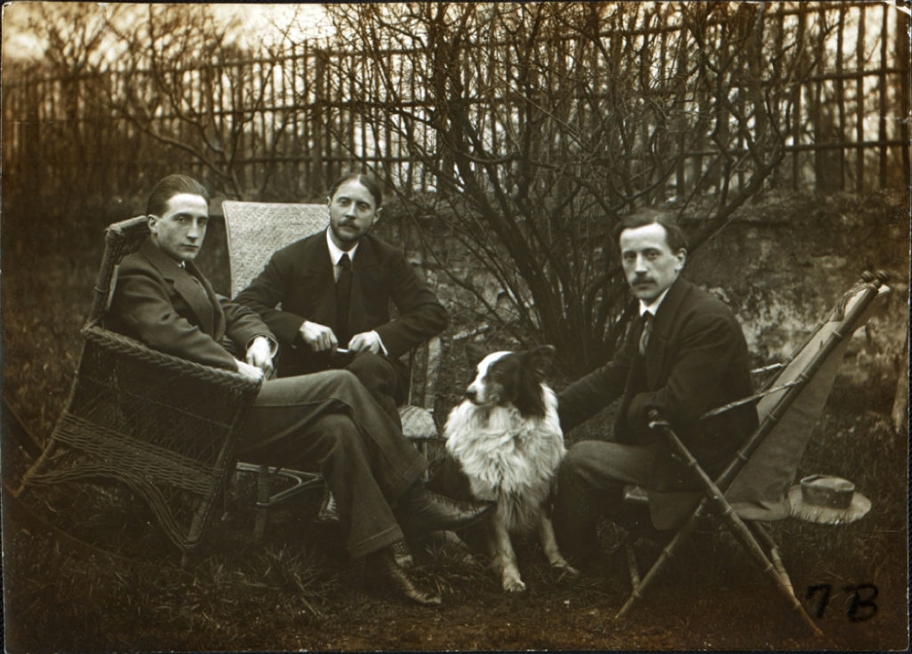 The three Duchamp brothers, left to right: Marcel Duchamp, Jacques Villon, and Raymond Duchamp-Villon in the garden of Jacques Villon's studio in Pateaux, France