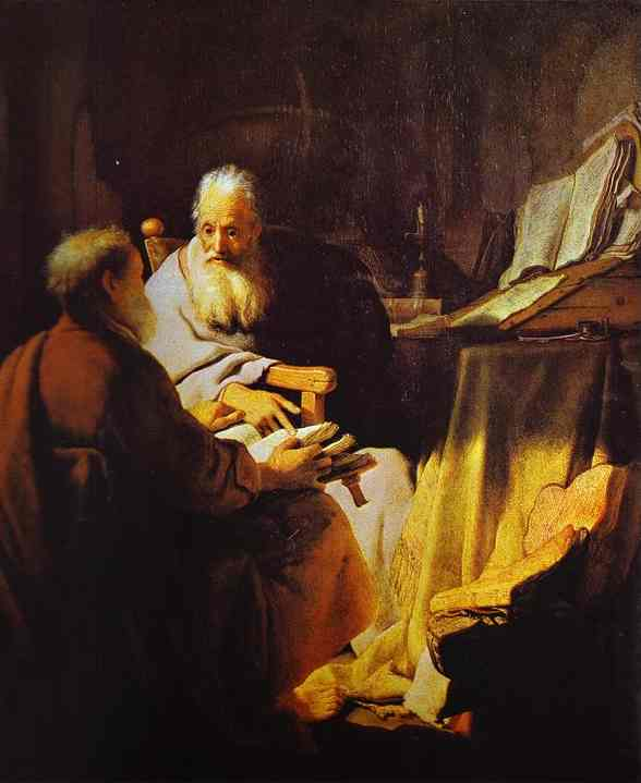 Rembrandt - Two Scholars Disputing _Peter and Paul_