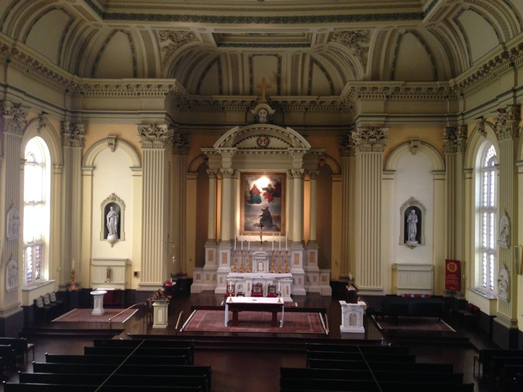 Interior of the Saint Ignatius Church, in Baltimore, MD, with Brumidi's altarpiece