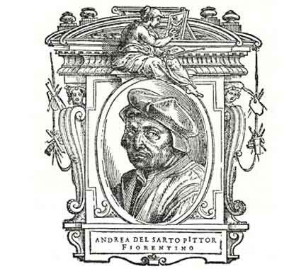 "Vasari's portrait of Andrea del Sarto, from his book, ""Lives Of The Artists"""