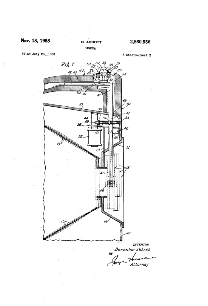 """Drawing from Abbot's patent for the """"candid camera,"""" 1958"""