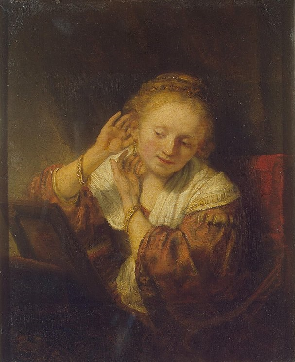 """Young Woman At Her Mirror,"" 1638"