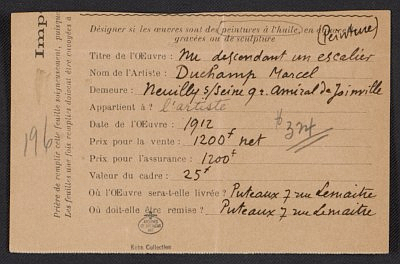 Duchamp's entry form for the Armory show