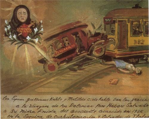 Painting from 1940, describing her accident in