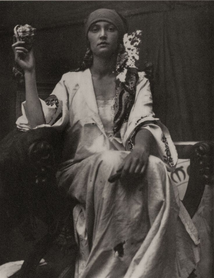 Mucha's daughter, Jaroslava, in 1929, posing for one of her father's photographic studies