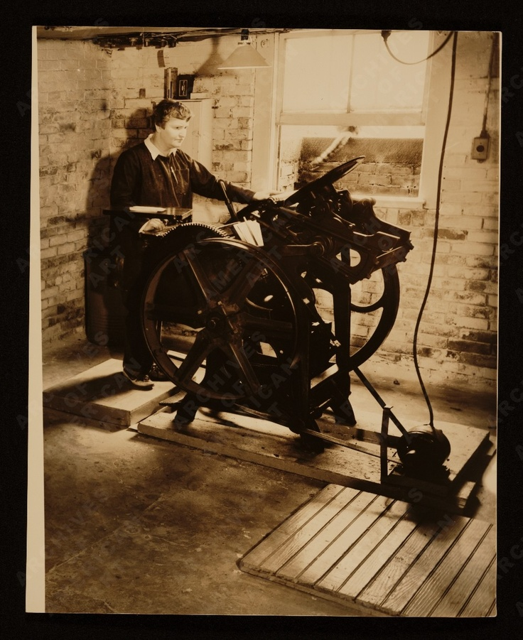 McCausland at her printing press, 1935