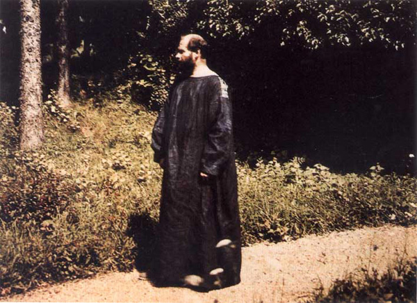 Klimt at Attersee, in his signature smock
