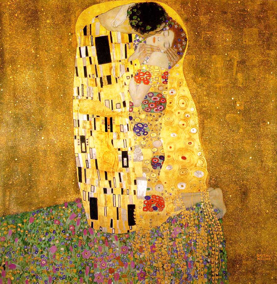 """The Kiss,"" 19 - Klimt's most famous work, and one of the most iconic art images in history"