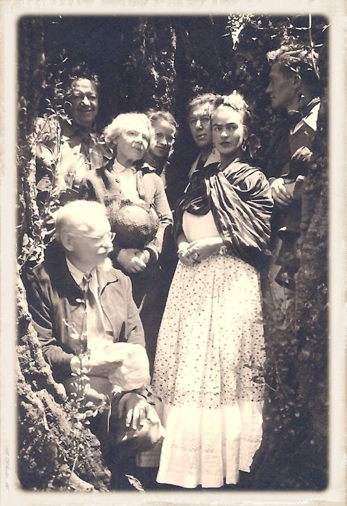 Leon Trotsky, Diego Rivera, Natalya Trotsky, Reba Hansen, Andre Breton, Frida Kahlo, and Jean Van Heijenoort (clockwise from left)