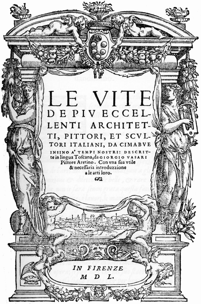 "Frontispiece for the original version of Vasari's ""Lives,"" 1550"