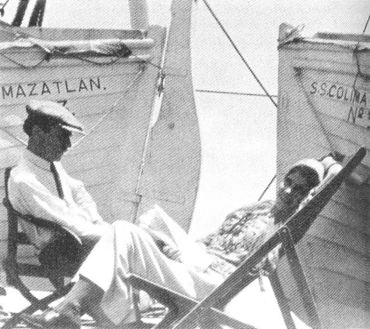 Weston and Modotti, on the ship to Mexico, 1923