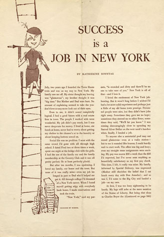 "Illustration by Andy Warhol for ""Success is a Job in New York"" from Glamour Magazine, September 1949"