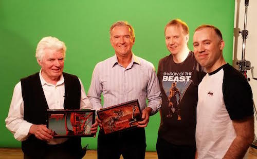 (From left to right) Roger Dean, and game designers Martin Edmunson, James Hawkins, Matt Birch