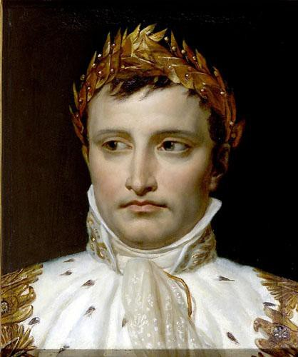 """Portrait Of The Crowned Napolean,"" 1806 - the portrait was rejected by Napolean as ""It is a portrait so awful, so full of defects that I cannot accept it."" - It has been rumored that the painting was actually executed by one of David's students, and why it was not up to the painter's usual high standards"