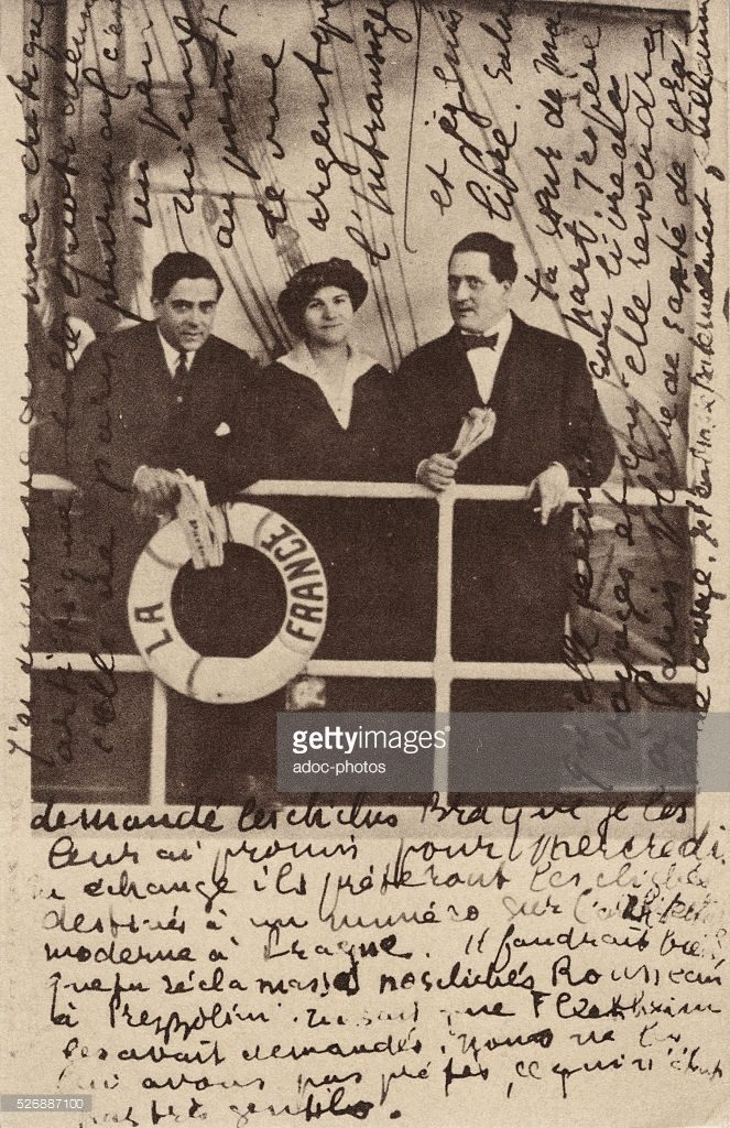 (from left to right) Francis Picabia, Gabrielle Buffet, and Apollinaire